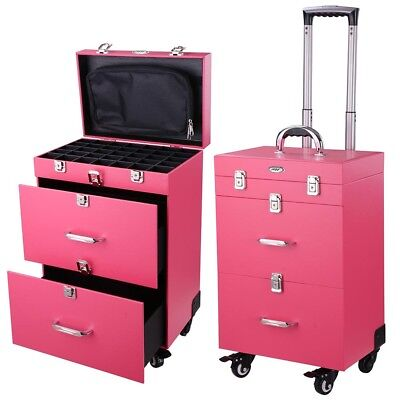 AW® Artist Makeup Rolling Drawer Case Cosmetic Train PVC Code Lock Box New