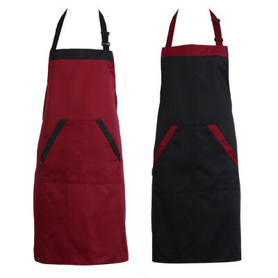 Unisex Chef Cooking Kitchen Catering Halterneck Apron Bib With 2 Pocket
