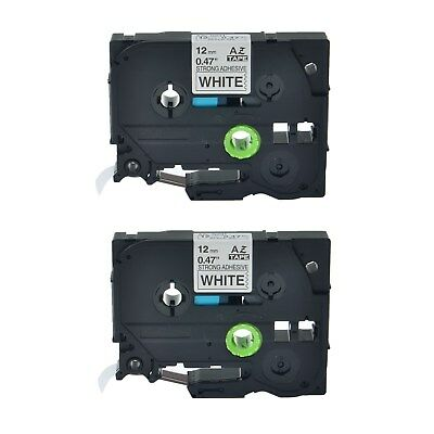2PK TZe S231 TZ-S231 Black On White Label Tape For Brother P-Touch 12mm x 8m