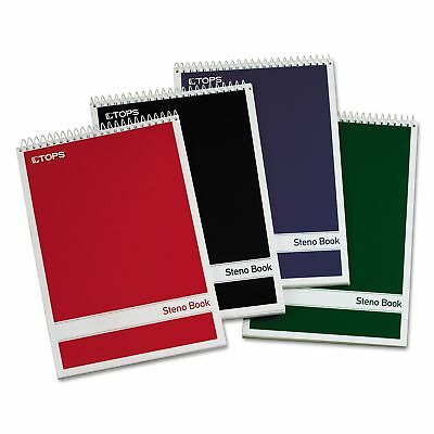 TOPS Steno Book with Assorted Colored Cover, 6 x 9, White Paper 4 80-Sheet Pads