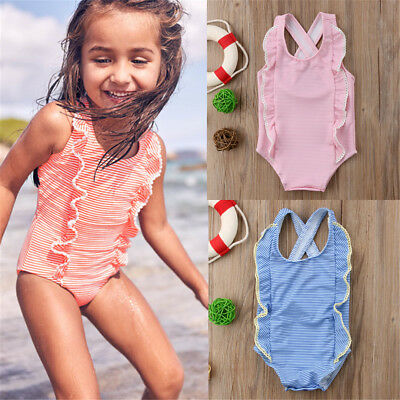 AU Newborn Kid Baby Girl Striped Bikini Set Swimwear Swimsuit Bathing Suit Beach