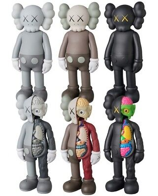"""8"""" Figure KAWS COMPANION Half Dissected Gray BLACK Brown Red Flayed Open Edition"""
