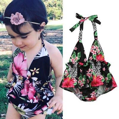 Kids Baby Girls Floral Backless Swimwear Swimsuit Bathing Suit Dress Beach AU