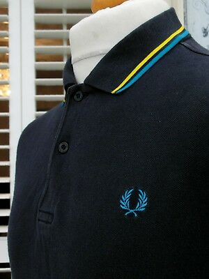 Fred Perry M1200 Navy Twin Tipped Pique Polo - M - Ska Mod Scooter Workwear