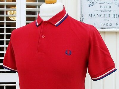 Fred Perry M3600 Red Twin Tipped Slim Polo - M - Ska Mod Scooter Casuals Skins