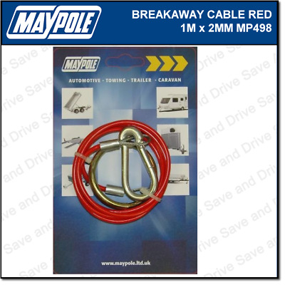 Maypole Breakaway Safety Cable Red 1M x 2MM Towing Trailer Caravan Towbar MP498