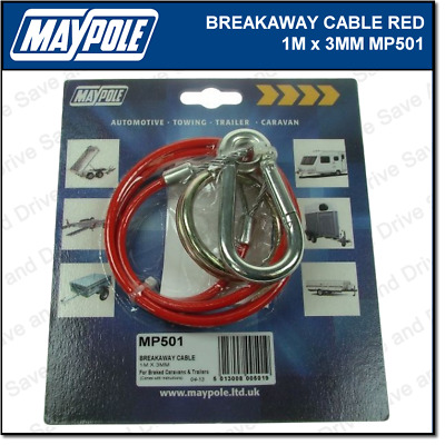 Maypole Breakaway Safety Cable Red 1M x 3MM Towing Trailer Caravan Towbar MP501