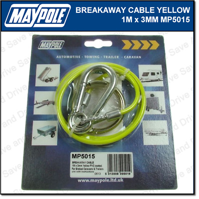 Maypole Breakaway Cable Yellow 1M x 3MM Towing Trailer Caravan Towbar MP5015