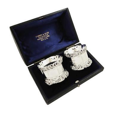 Pair Of Antique Edwardian Sterling Silver Napkin Rings In Case - 1902