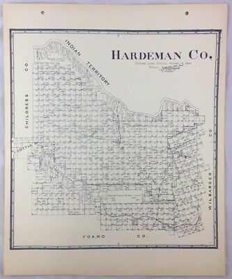 Antique General Land Office Map Hardeman County Texas Showing Plats ++