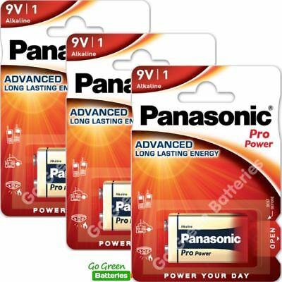 3 x Panasonic 9V PP3 Pro Power Alkaline Batteries, Smoke Alarms, LR22, MX1604