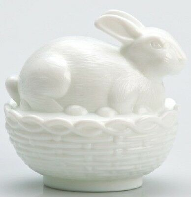Bunny Rabbit on Basket Covered Dish - Mosser USA - Milk Glass