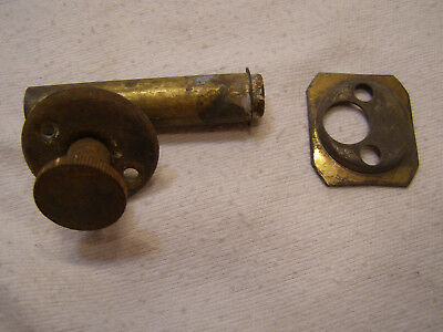 Vintage Small Round Cabinet / Door Latch Deadbolt w/ Strike Plate Rusty Knob