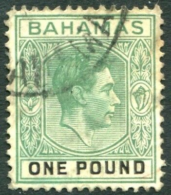 BAHAMAS-1943 £1 Blue-Green & Black Sg 157a GOOD USED V22859