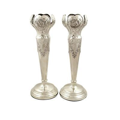 """Pair Of Antique Edwardian Sterling Silver 10"""" Vases - 1905"""