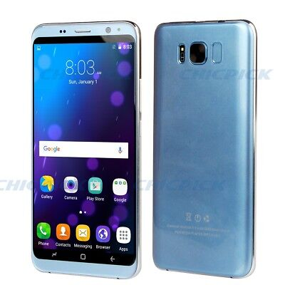 "Telephone S8 portable débloqué 3G Android 6.0  5.5"" Smartphone  IPS 8Go ROM Bleu"