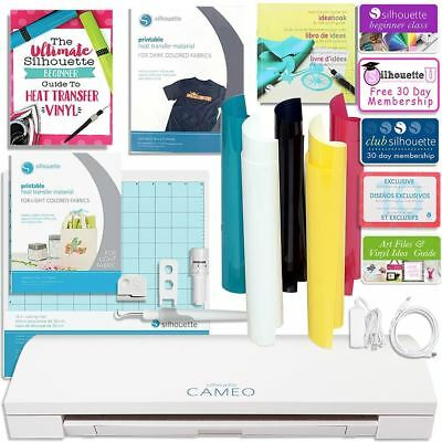 Silhouette Cameo 3 Bluetooth T Shirt Starter Bundle w/ Guide, HTV Kit and More