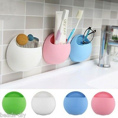 Home Bathroom Toothbrush Holder Wall Mount Suction Cup Toothpaste