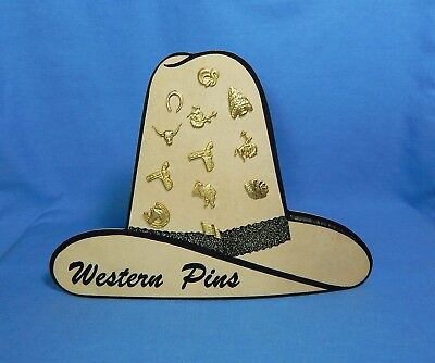 Vintage Cowboy Hat Western Pins Display Western Lapel Pin Store Display FreeShip