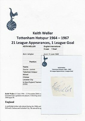 Keith Weller Tottenham Hotspur 1964-1967 Rare Original Hand Signed Cutting/Card