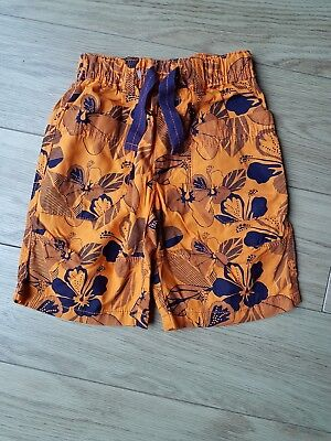 Next boys Age 4-5 Years Blue Orange Long Floral Swimming Shorts