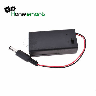 9V PP3 Battery Holder Box Case With Cover ON/OFF Switch DC Power 5.5x2.1mm Plug