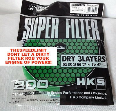 HKS SUPER POWER FLOW AIR FILTER REPLACEMENT RELOADED NEW GENERATION 200mm Green