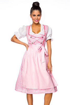 Oktoberfest Wiesn Dirndl with Blouse + Apron Pink White Checked 34 36 38 40 42