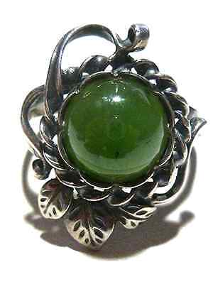 Antique Foreign European Hallmarks Jade Or Jadeite Sterling Silver Flower Ring