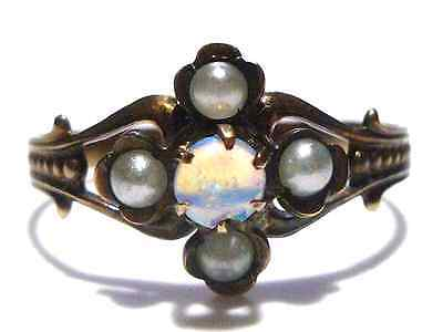 Victorian 10K Yellow Gold Womens Estate Opal & Seed Pearl Ring Size 7.5