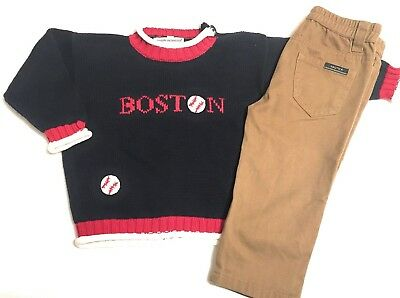 Boston Red Sox Preppy Outfit Boys 24 Months Cotton Sweater Nautica Chinos