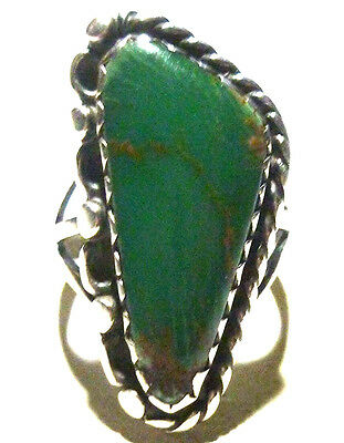 Old Navajo Estate Vintage Sterling Silver & Turquoise Ring Size 5.25