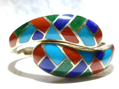 Designer Wk Stunning Blue Red Green Enamel Sterling Silver Bangle Cuff Bracelet