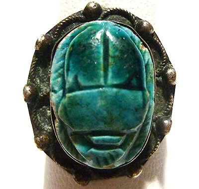 Old Carved Blue Scarab Faience Sterling Silver Egyptian Revival Ring Size 6