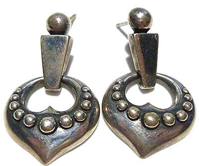 """Retired Vintage James Avery Thick Sterling Silver Modern 1.25"""" Ball Earrings"""