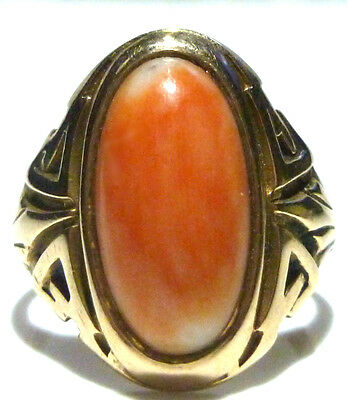 Antique Victorian Nouveau 12K - 14K Yellow Gold Coral Estate Womens Ring Sz5.25