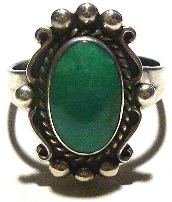 Vintage Old Bell Trading Post Southwestern Turquoise Sterling Silver Ring Sz7.25