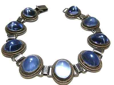 Foreign Hallmarked Sterling Silver Blue Glass Womens Estate Bracelet 7.5""