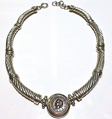 Womens Heavy Large Sterling Silver Replica Greek Roman Bronze Coin Necklace 17""