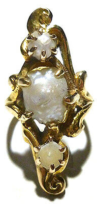 Victorian Nouveau Antique River Pearl Natural 14K Gold Estate Ring Size 3.5