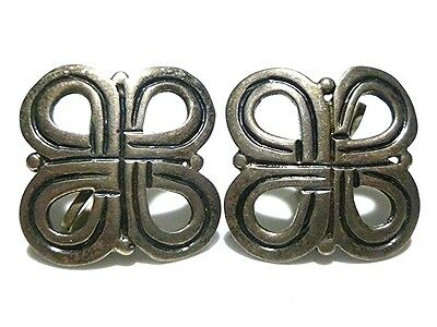 Mexico Mexican Antique Old Sterling Silver Womens Estate Earrings Pair Set