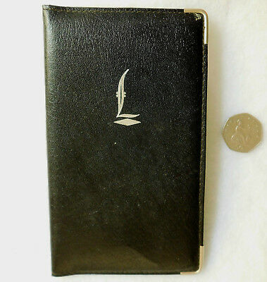 English vintage wallet grained real leather ID card holder Black Initial L logo