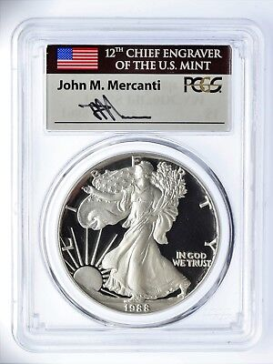 1988-S Proof Silver Eagle PR70 PCGS Mercanti Flag