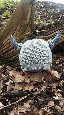 Hand Knitted Viking Baby Beanie 0-3 months