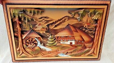 Reuge Vintage Wood Swiss Musical Movement Wall Art The Mill In The Black Forest