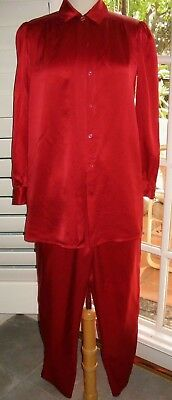Vintage Christian Dior Le Conaisseur Red Silk Blouse And Pants Pajamas Petite
