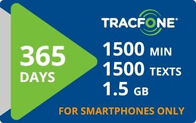 Tracfone Smartphone Only Plan 1 Year 365 Days Service 1500 Minutes/Texts/Data