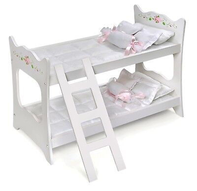 Kids Girls White W Pink Rose Doll Bunk Bed Bedding For 18 20