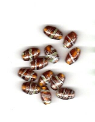 Vintage topaz oval glass beads with gray and copper spiral stripes--14 mm.