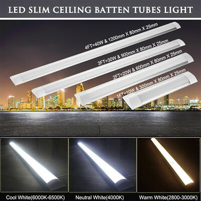 LED Slim Ceiling Batten Tubes Light Fluorescent 30CM 60CM 90CM120CM Lamp 10W-40W